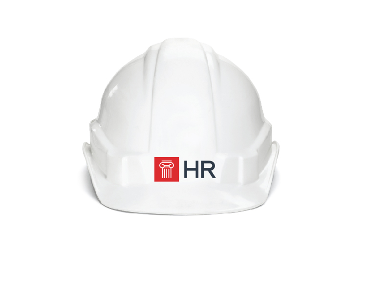 Hardhat with HR Logo on it