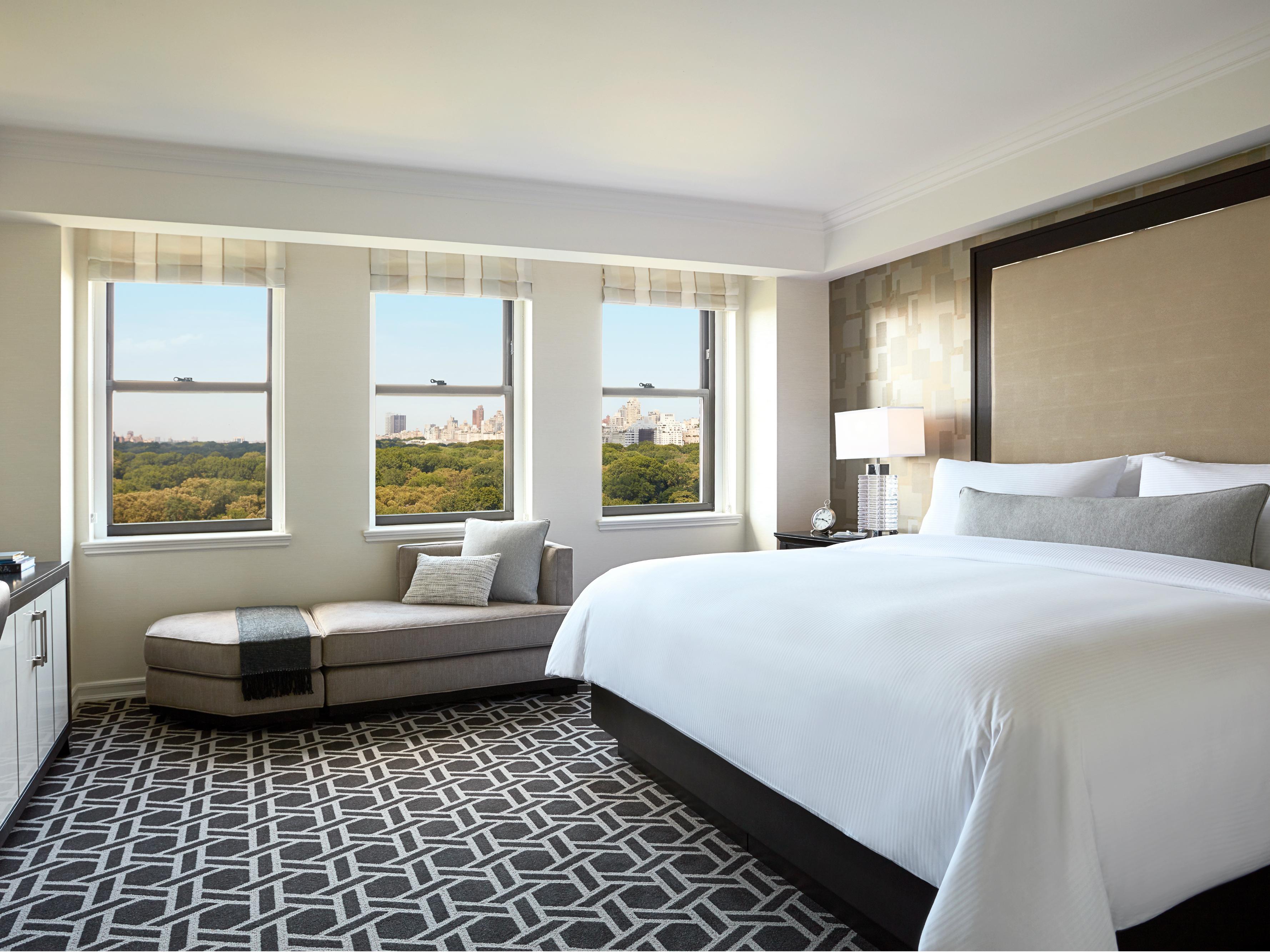 JW Marriott Essex House New York Central Park king bed guestroom