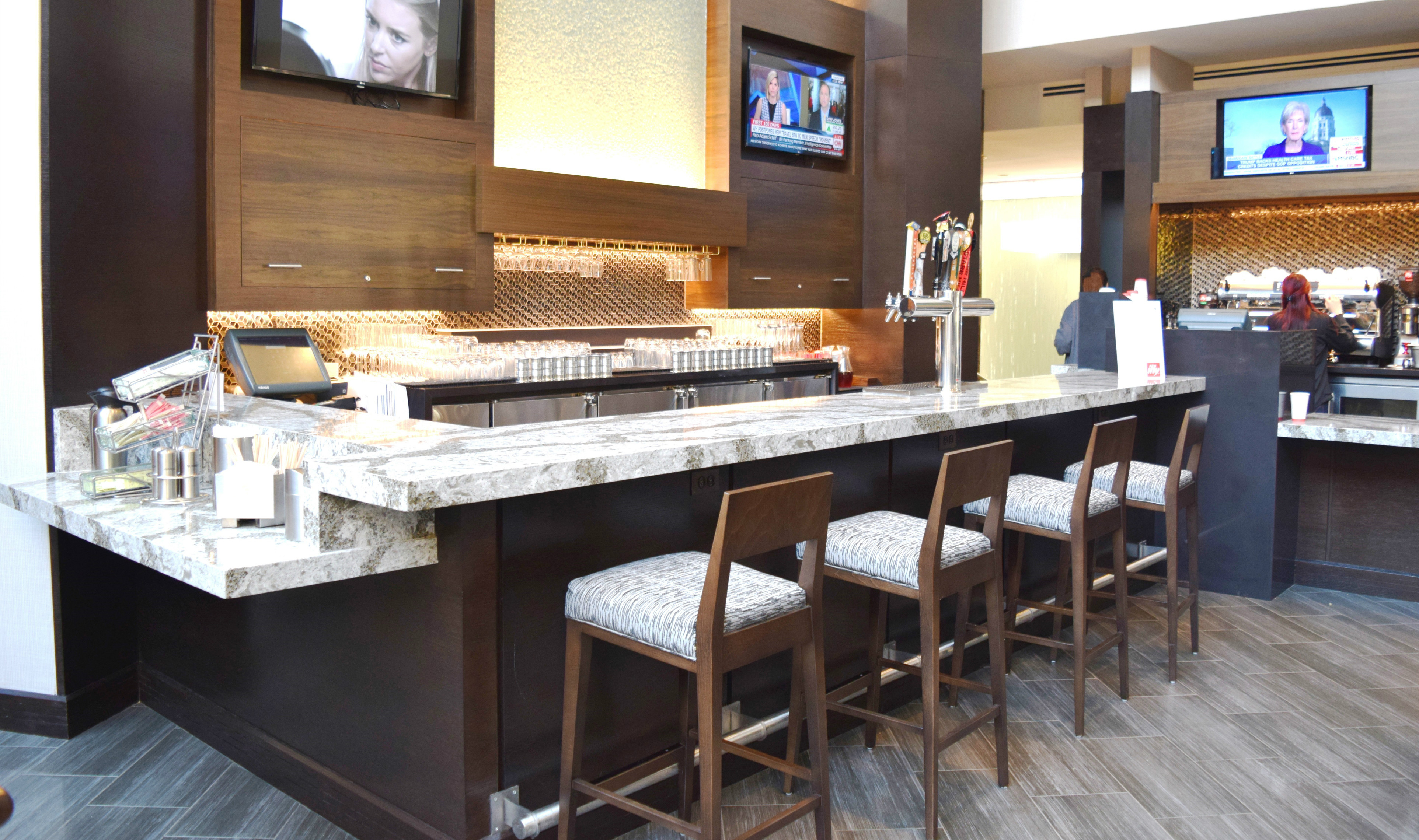 Renovated bar at the Crystal Gateway Marriott