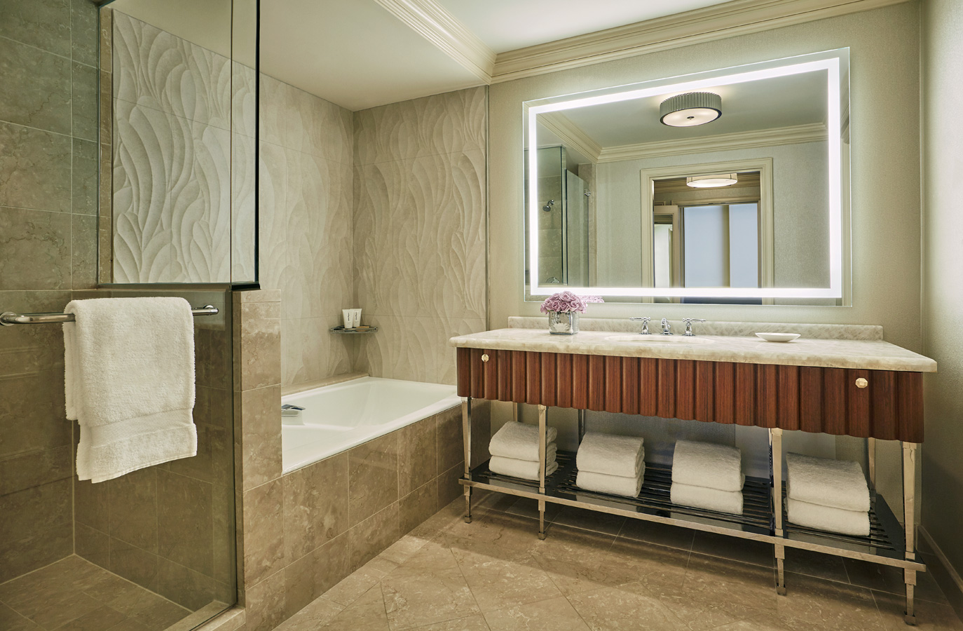 Renovated hotel guest bathroom at the Four Seasons hotel