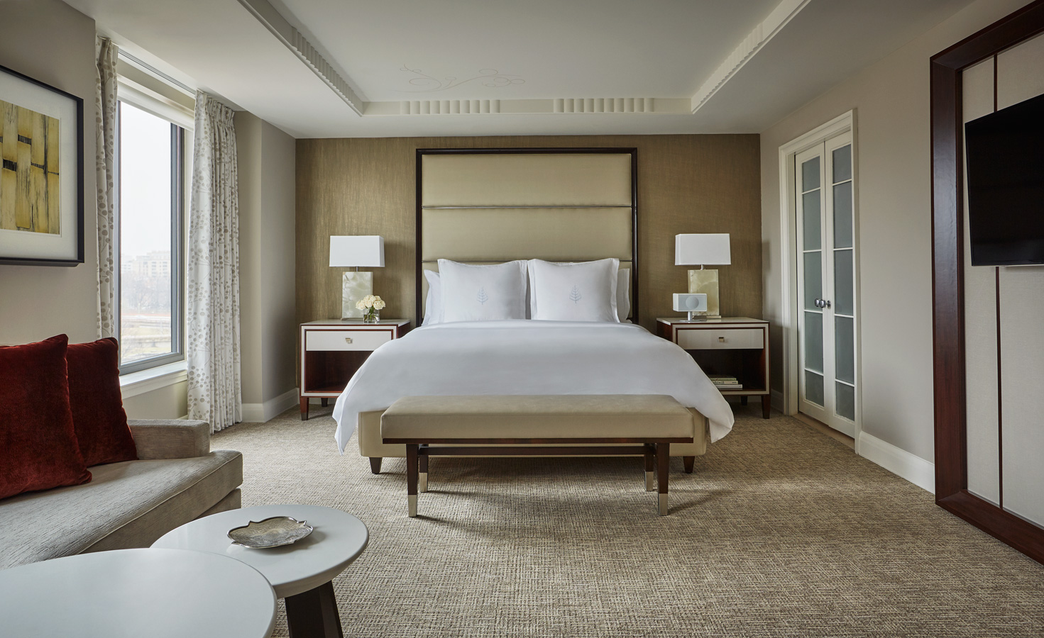 Renovated guest bedroom at Four Seasons hotel