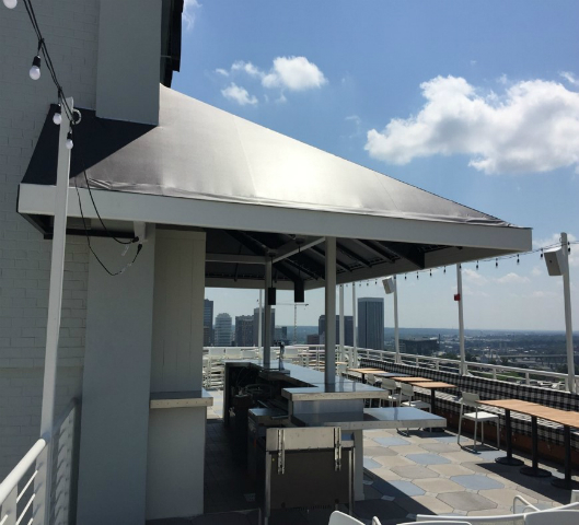 Completed rooftop bar