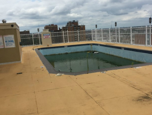Original pool deck before renovation
