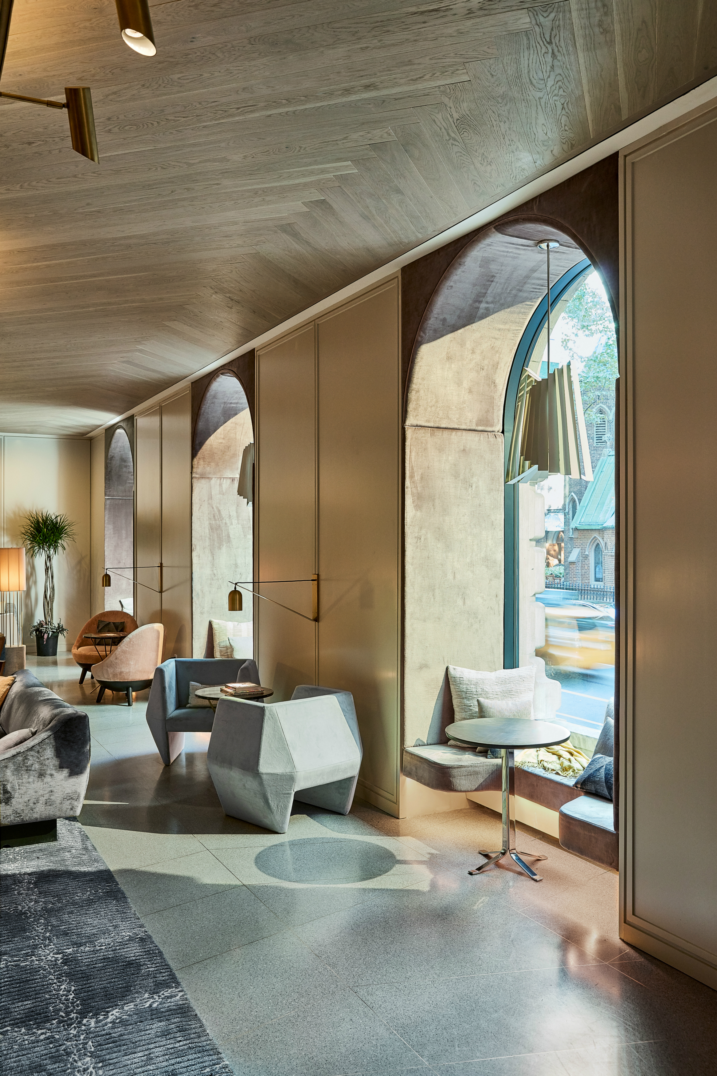 Lobby window and seating at The James New York - NoMad
