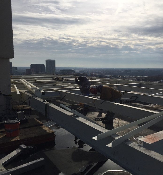 2 - new steel platform framing on roof | HR Construction