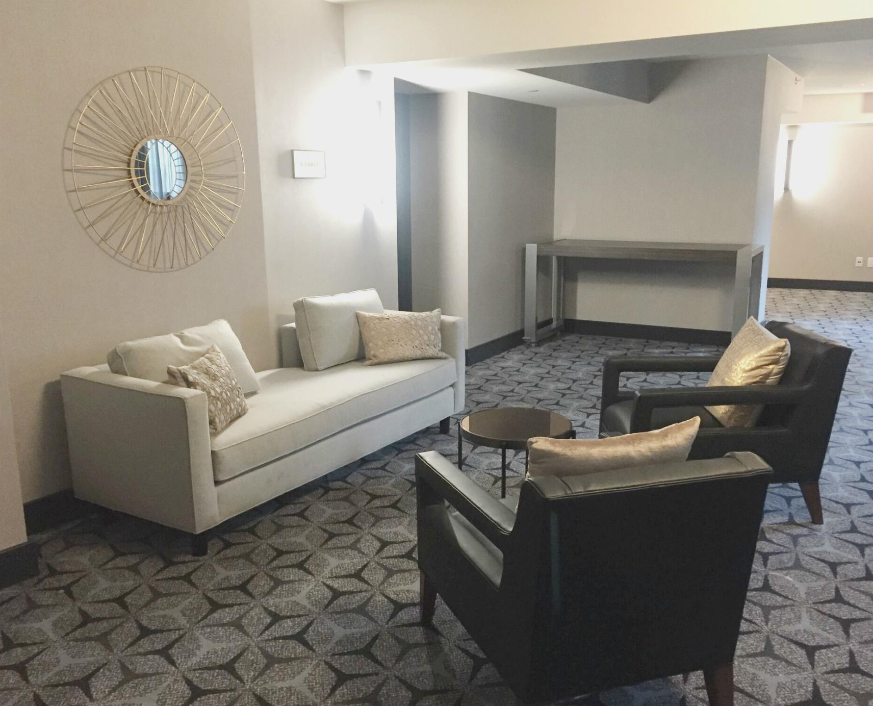 Corridor seating in The Washington Hilton