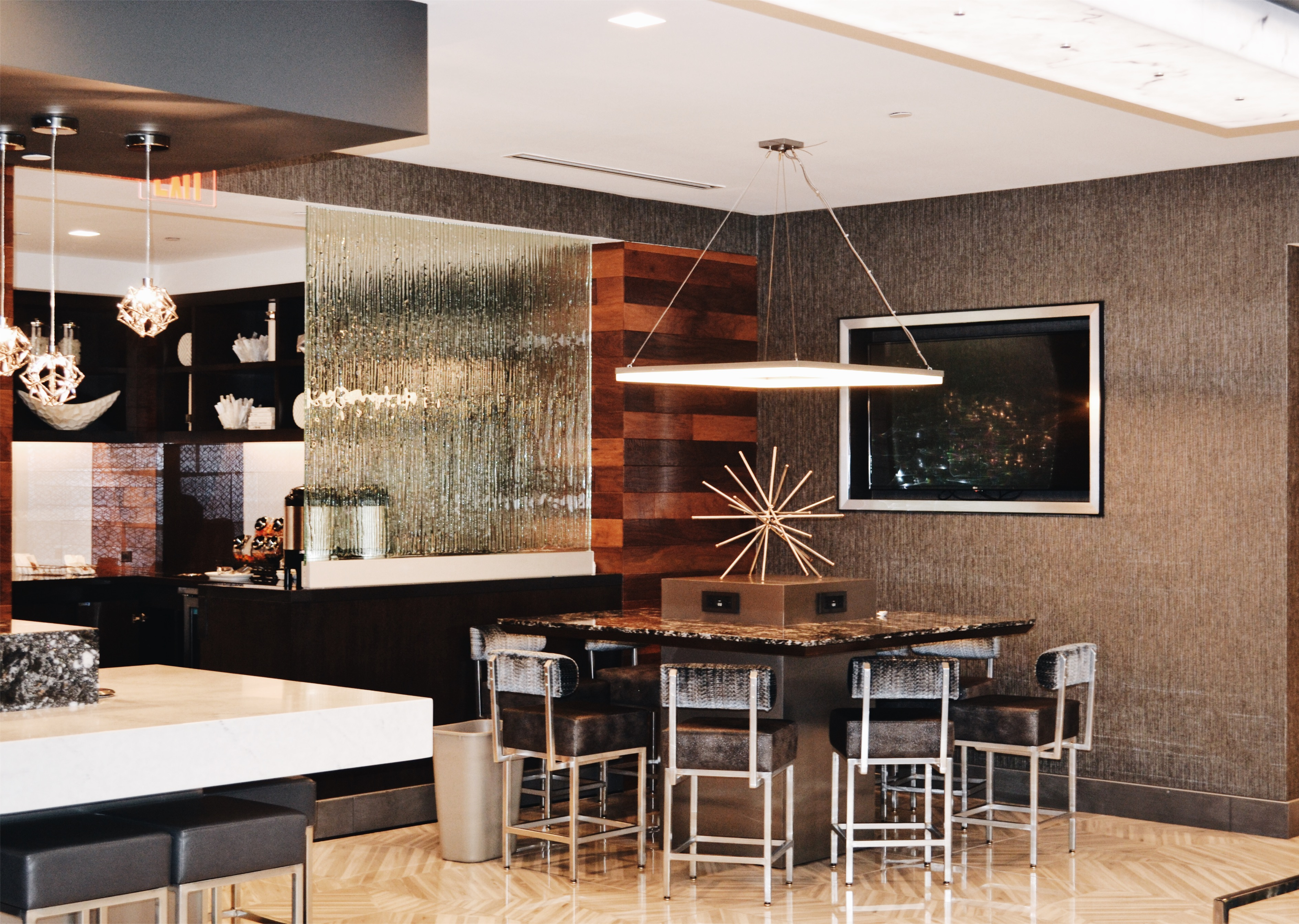 Renovated hotel public space at the Crystal Gateway Marriott