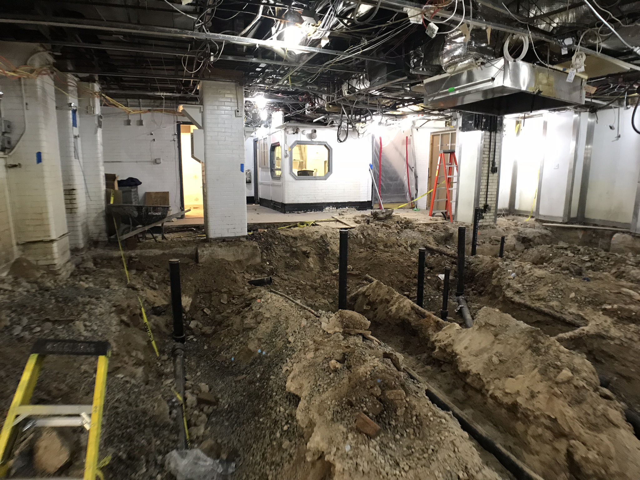 The Carlyle kitchen trenched out for new plumbing