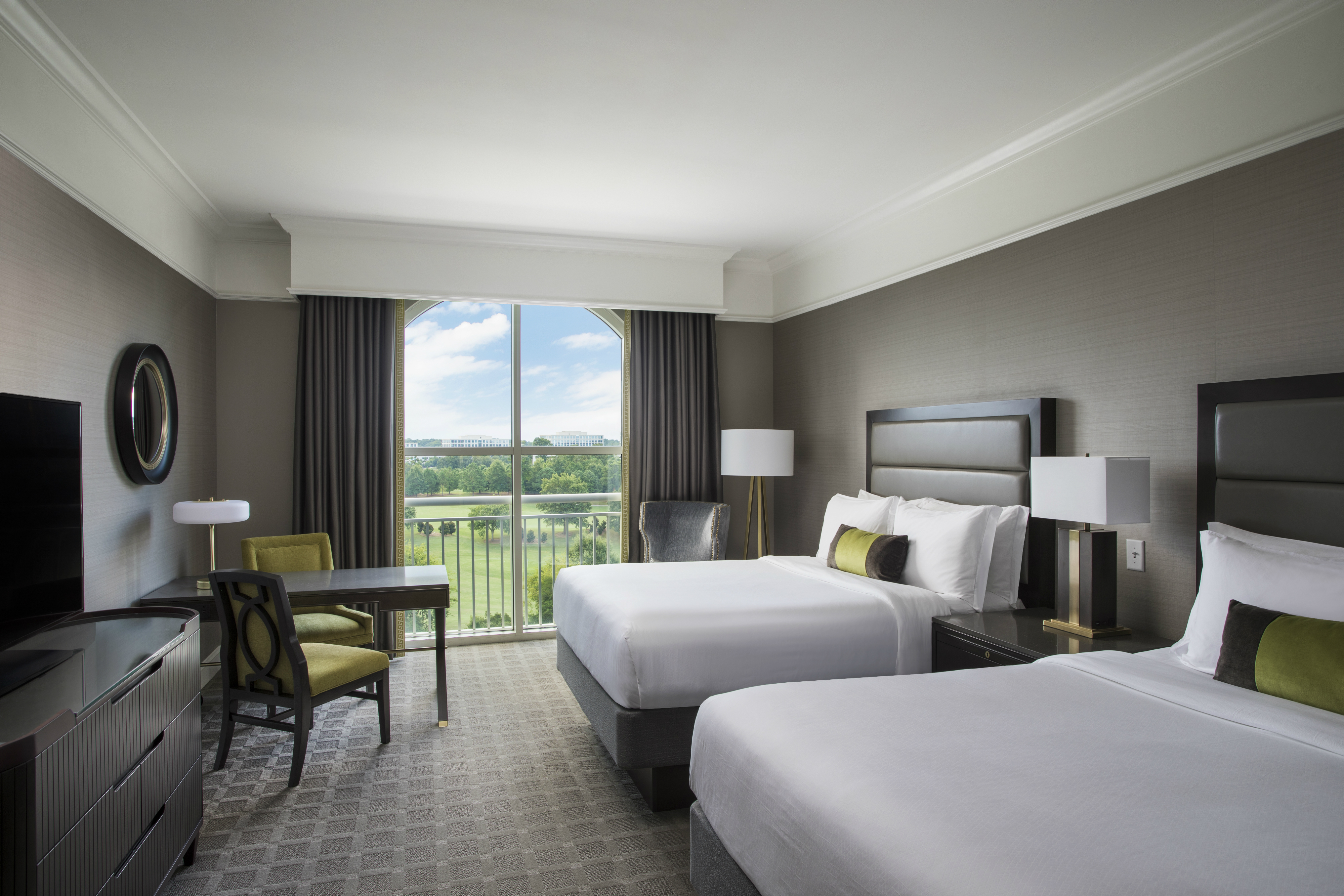 Grand deluxe guestroom with two queen beds at The Ballantyne