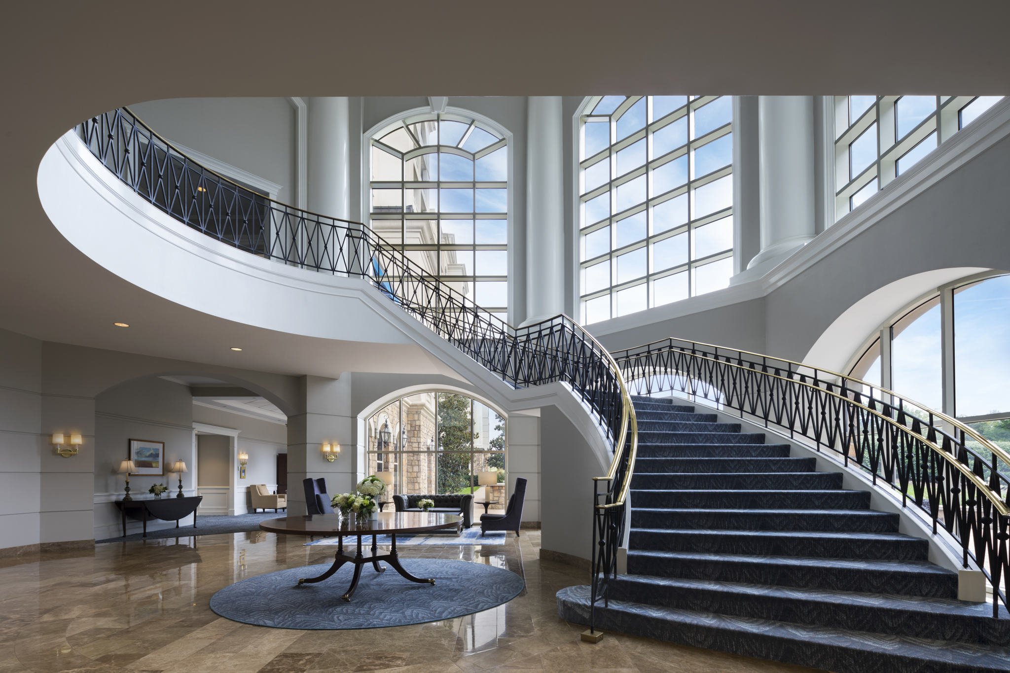Renovated grand staircase at The Ballantyne Hotel