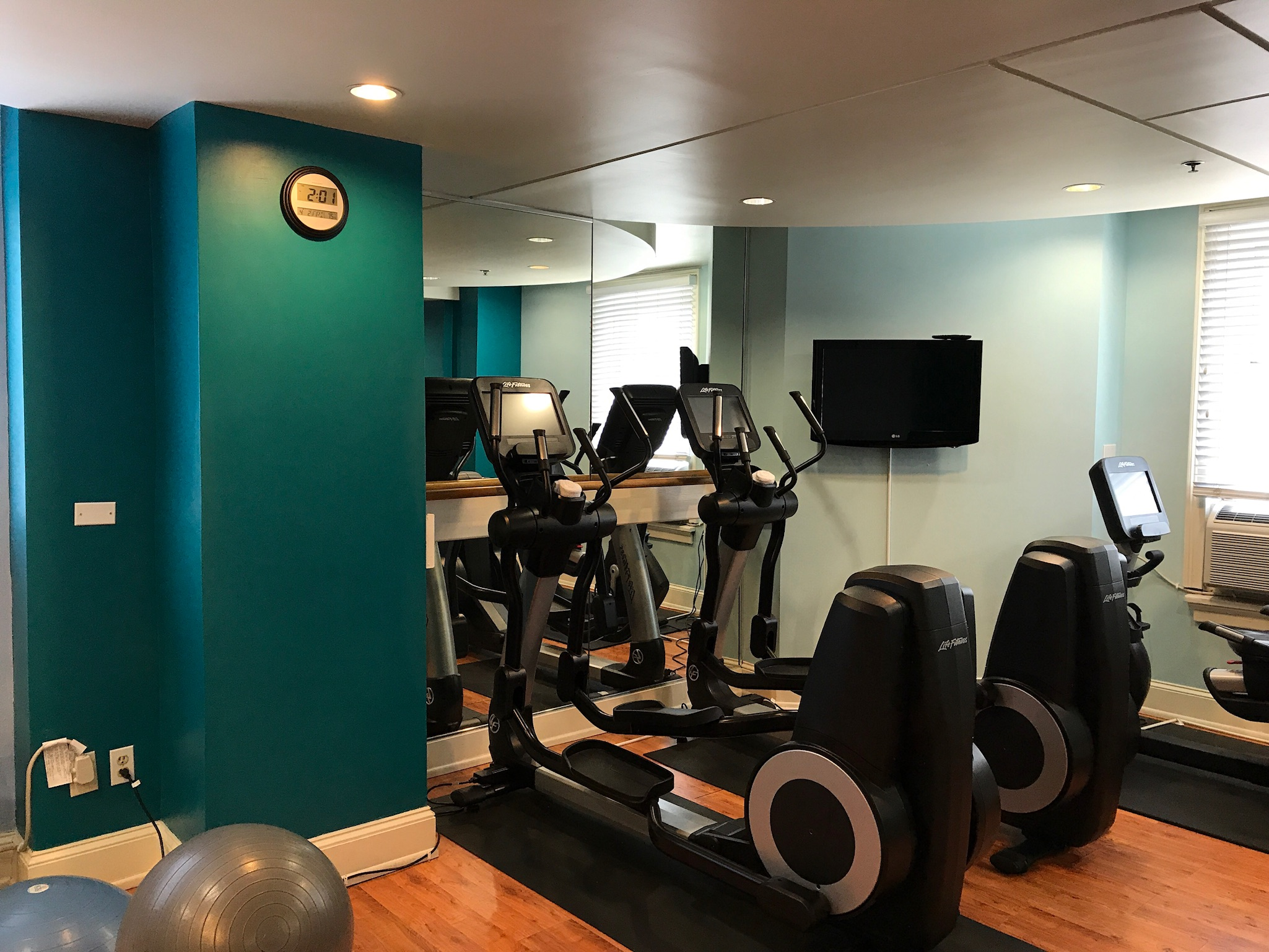 Renovated hotel fitness center at Hotel Indigo