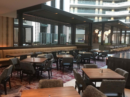 Completed atrium seating area at Embassy Suites