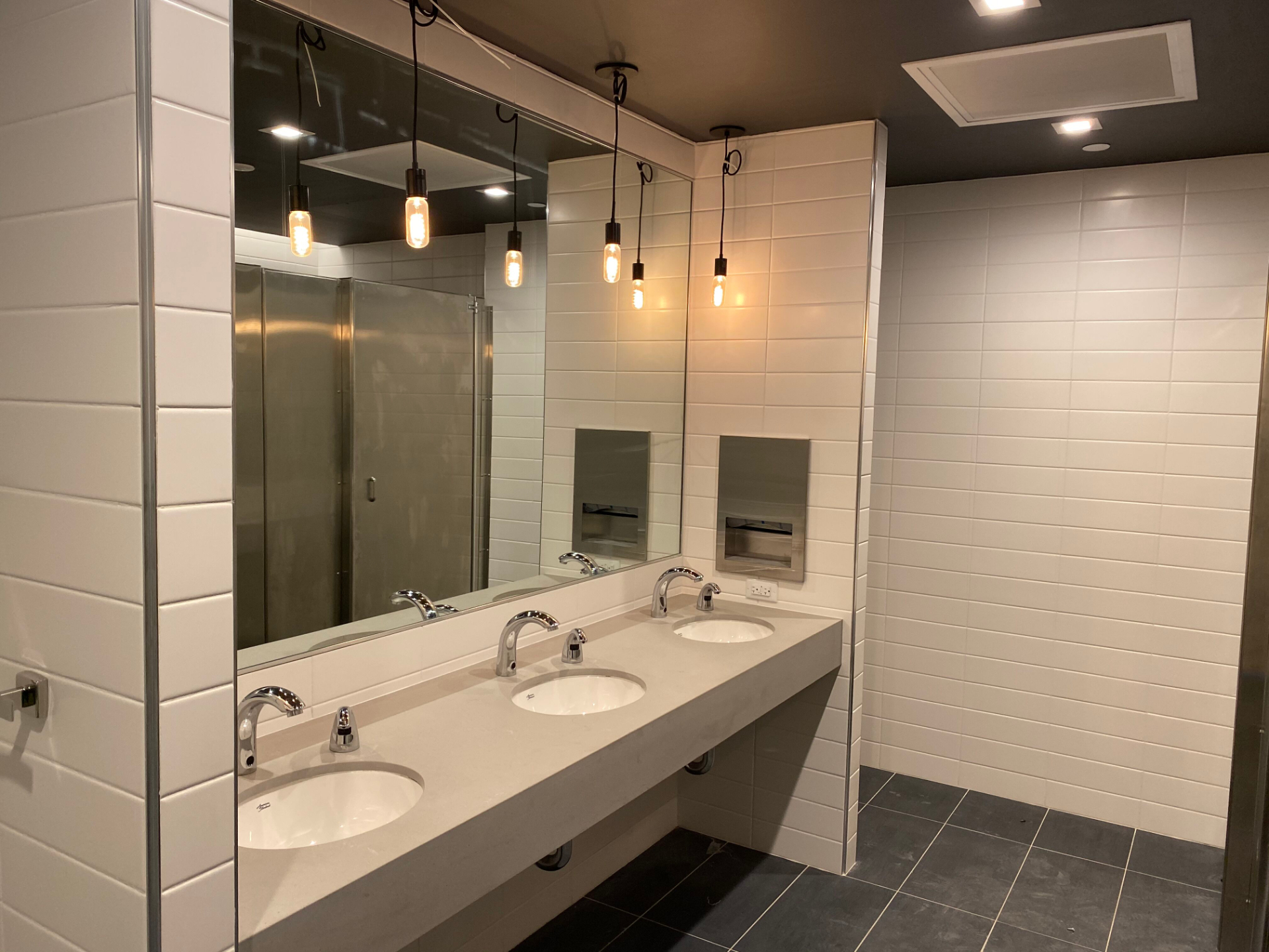 Newly built public bathroom located in financial district of NYC