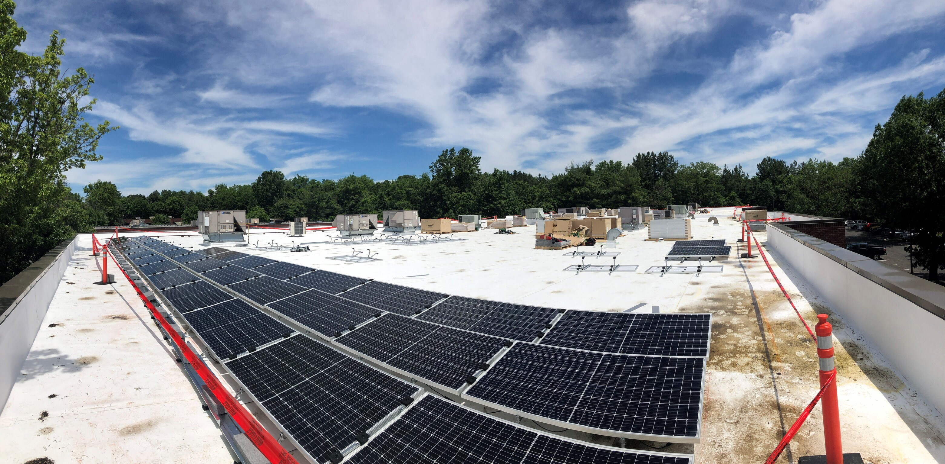 Solar panel roof progress on HR Construction building
