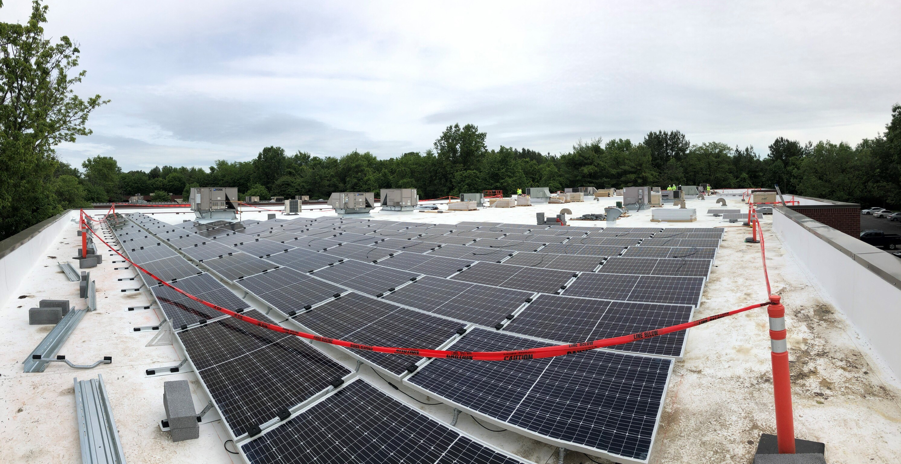 Solar panels on HR Construction building