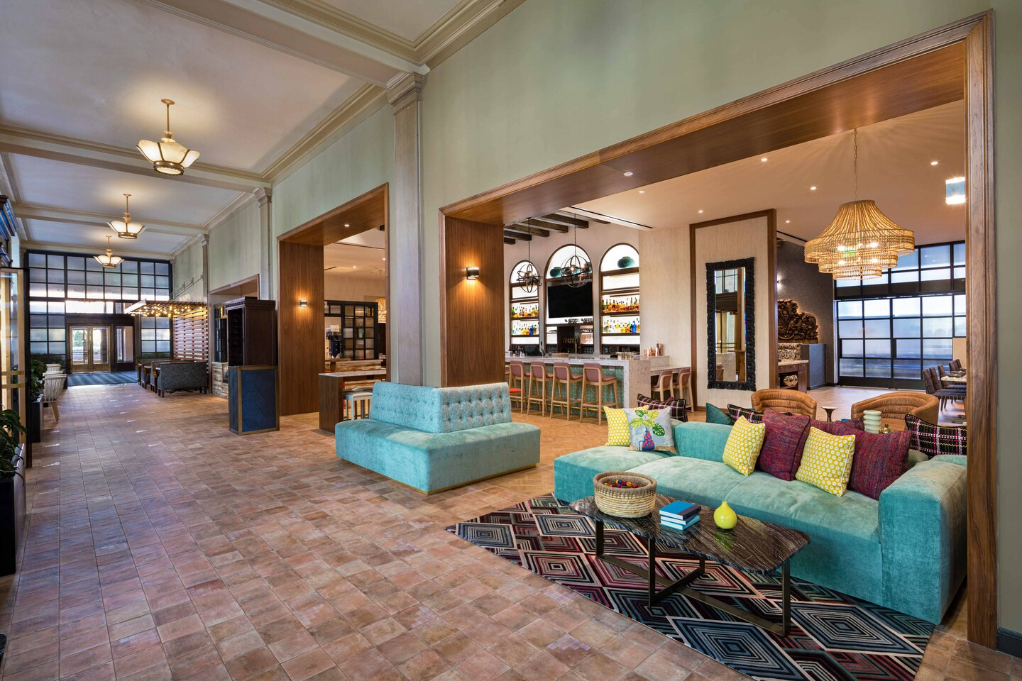 The Notary Hotel lobby and common space