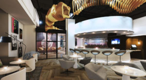 Hotel Zena renovated common space and bar