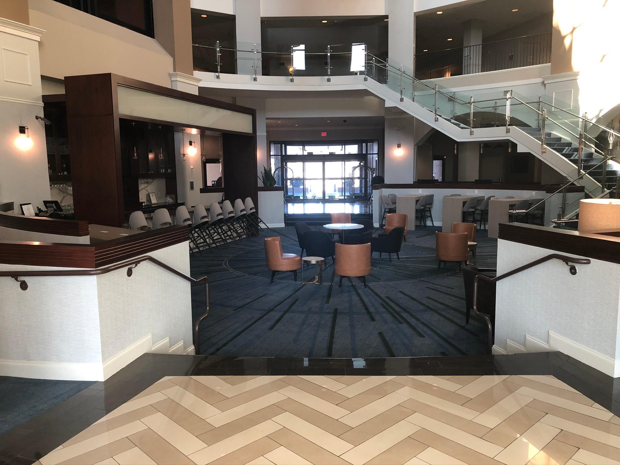 Renovated hotel lobby at Sheraton Wilmington South Hotel