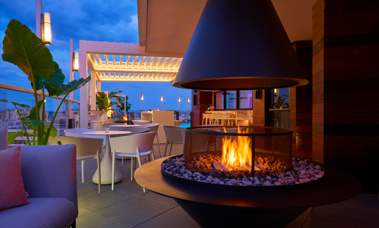 Outdoor firepit and seating at Hotel Zena